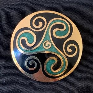 Vintage Celtic Triskele Enamel Brooch Pin Celtic